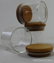 "2"" Glass Jar Wood Cap"