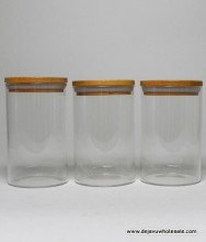 """63mm / 4"""" Height Glass Jar Wood Cup"""
